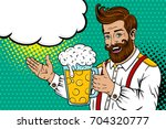 pop art male face. sexy bearded ... | Shutterstock .eps vector #704320777