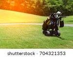 golf equipments  woods  clubs ...   Shutterstock . vector #704321353