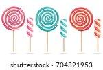 round pink lollipop set vector. ...