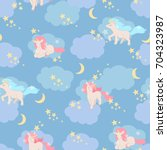 unicorn  stars and clouds ...   Shutterstock .eps vector #704323987