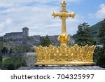 loudes famous french town for... | Shutterstock . vector #704325997