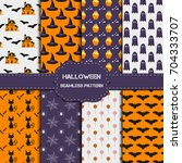 collection of 8 halloween... | Shutterstock .eps vector #704333707
