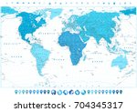 world map in colors of blue and ... | Shutterstock .eps vector #704345317