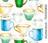 seamless background. tea party... | Shutterstock . vector #704354803