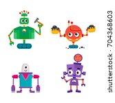 vector flat cartoon funny... | Shutterstock .eps vector #704368603