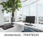 luxury modern office interior... | Shutterstock . vector #704378143