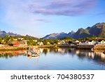 kabelvag village early morning  ... | Shutterstock . vector #704380537