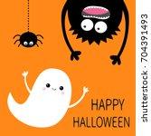 Stock vector happy halloween card flying ghost spirit monster head silhouette eyes hands hanging upside 704391493