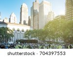 crowds of people gather on the... | Shutterstock . vector #704397553