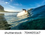 muscular surfer with long white ... | Shutterstock . vector #704405167