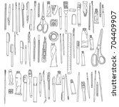 stationery  art materials ... | Shutterstock .eps vector #704409907