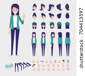 Young woman character for your scenes. Flat Vector Character creation set with various views, hairstyles and poses. Parts of body template for design work and animation. | Shutterstock vector #704413597