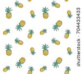 tropical ananas pineapple fruit ... | Shutterstock .eps vector #704433433