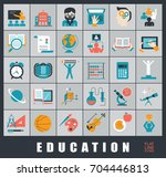collection of educational icons.... | Shutterstock .eps vector #704446813