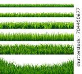 green grass borders big set | Shutterstock . vector #704450677