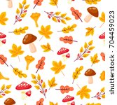 seamless pattern with autumn... | Shutterstock .eps vector #704459023