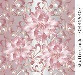3d flowers seamless pattern.... | Shutterstock .eps vector #704459407