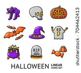 set of linear halloween icons ... | Shutterstock .eps vector #704462413