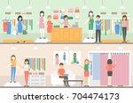 maternity shop set. people... | Shutterstock .eps vector #704474173