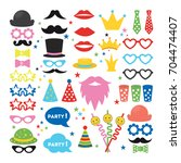 party masks set. hats and... | Shutterstock .eps vector #704474407