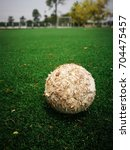 Small photo of old ball in green grass field.