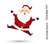 christmas cute santa claus... | Shutterstock . vector #704486797
