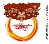 llustration of raavana with ten ... | Shutterstock .eps vector #704491867