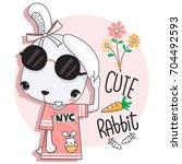 cute cartoon rabbit girl in... | Shutterstock .eps vector #704492593