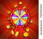vector flat cartoon lucky wheel ... | Shutterstock .eps vector #704493337