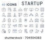 set of line icons startup and... | Shutterstock . vector #704504383