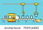 thin line style assembly line.... | Shutterstock .eps vector #704516683