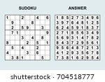 vector sudoku with answer 106.... | Shutterstock .eps vector #704518777