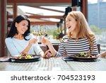 happy positive women drinking... | Shutterstock . vector #704523193
