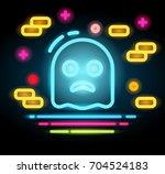 halloween ghost icon neon...   Shutterstock .eps vector #704524183