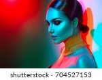 high fashion model woman in... | Shutterstock . vector #704527153