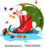 rubber boots.umbrella.autumn... | Shutterstock .eps vector #704534563