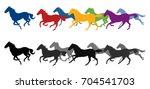 silhouette horses running | Shutterstock .eps vector #704541703