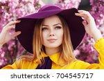 outdoor close up portrait of... | Shutterstock . vector #704545717