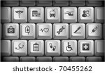 medical icons on gray computer... | Shutterstock .eps vector #70455262