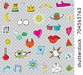set of patches elements like... | Shutterstock . vector #704565763
