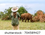 back view of a little girl on... | Shutterstock . vector #704589427