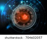 astrology signs on dark space... | Shutterstock . vector #704602057