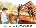 kids brother and sister feeding ... | Shutterstock . vector #704604037