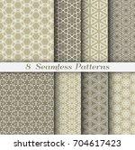 set of 8 seamless islamic... | Shutterstock .eps vector #704617423