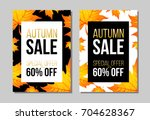 set of autumn sale flyer... | Shutterstock .eps vector #704628367