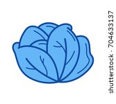 White Cabbage Vector Line Icon...