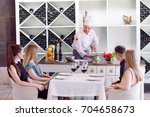 the chef prepares the paste for ... | Shutterstock . vector #704658673