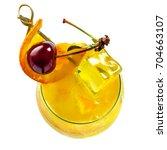 glass of fruit cocktail drink... | Shutterstock . vector #704663107