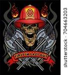 firefighter tattoo  | Shutterstock .eps vector #704663203
