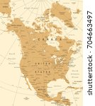 north america map   vintage... | Shutterstock .eps vector #704663497